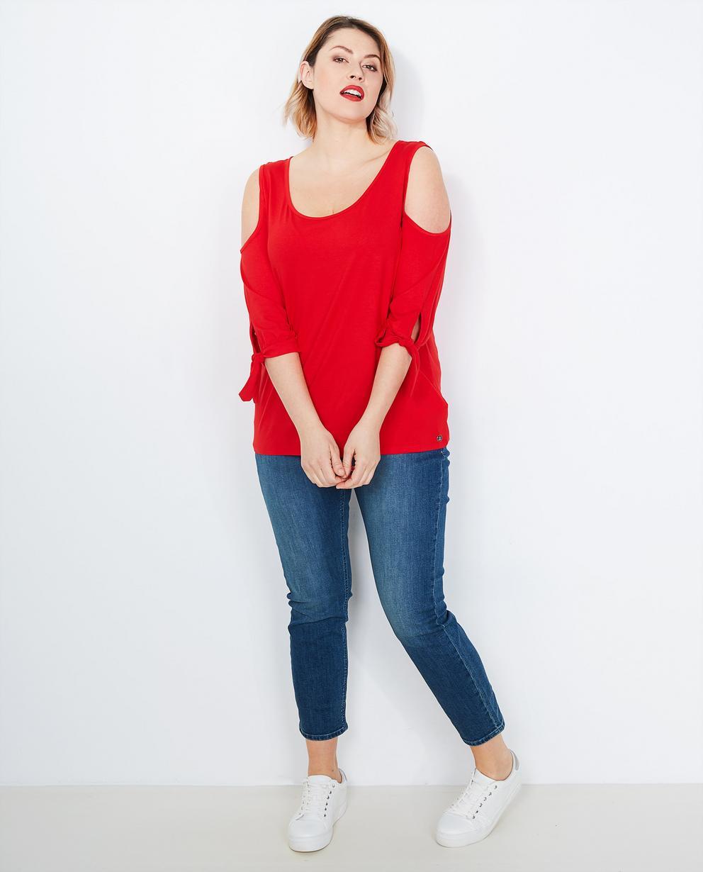 1165606735b60a Vuurrode blouse - met cutouts - Lena Lena